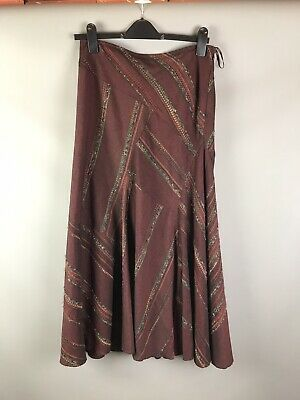 M&S Size 10 Wool Blend Maxi Skirt Godet Panelled Lined Ox Blood Red Brown  • 12.49£