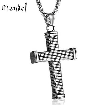 $11.99 • Buy MENDEL Mens Womens Solid Stainless Steel Christian Cross Pendant Necklace Chain