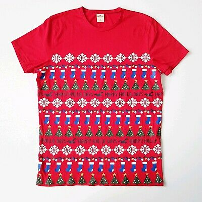 AU19.90 • Buy Hollister Mens Red Christmas Happy Holla Days T Shirt Size L
