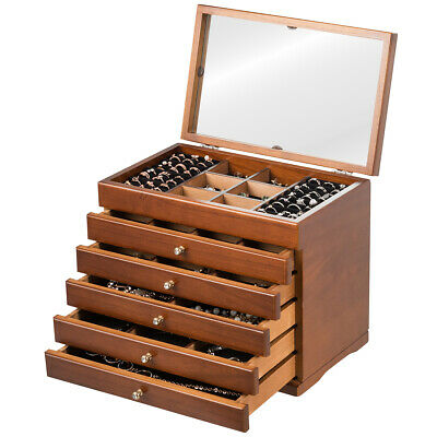 Mirrored Wooden Jewellery Box Chest Rings Necklaces Storage Organiser Cabinet • 35.99£