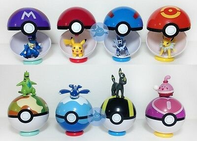 9Pokemon Pokeball 7cm Cartoon Toy Plastic BALL Pikachu  Monster Figu WD • 3.52£