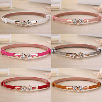 Candy Color Thin Belt Crystal Buckle Faux Leather Waist Belt Dress Accesso WD • 3.34£