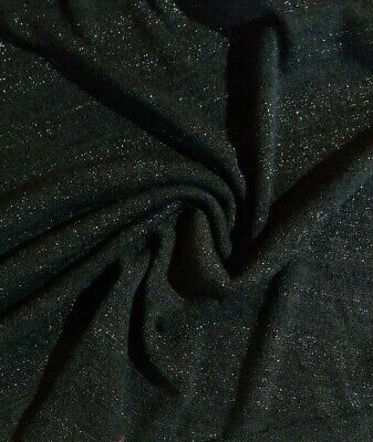 Striped Lurex Stretch Black Sweater Knit Jersey Fabric - Sold By The Meter • 4.72£