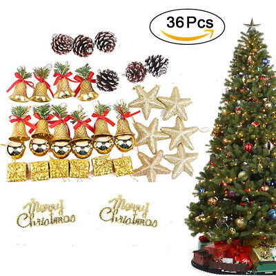 36pcs Outdoor Bell Star Christmas Tree Hanging Ornaments Indoor Xmas Party Decor • 8.99$