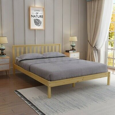 AU159.95 • Buy Wooden Bed Frame Double Size Mattress Base Pine Platform Bedroom Furniture Oak