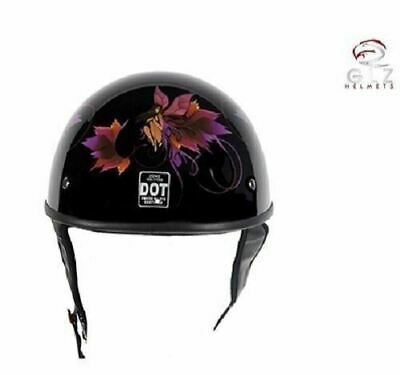 DOT Approved Low Profile Fit Shiny Motorcycle Helmet W/Fairy & Tribal Flowers • 49.95$