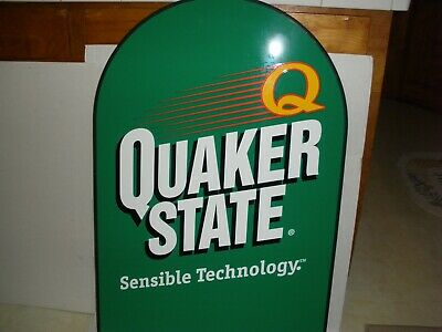 Quaker State Oil Sign Large Double Sided Metal Sign And Stand.  • 90$