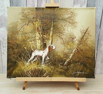 Original Vintage Signed Hunting Dog Oil Painting On Stretched Canvas, Ferdinand • 185£