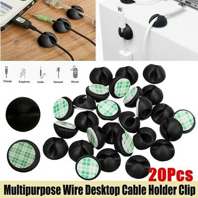 20Pcs Cable Clips Charging Cord Organizer Desktop Wire Storage Holder Drop Fixer • 2.10£