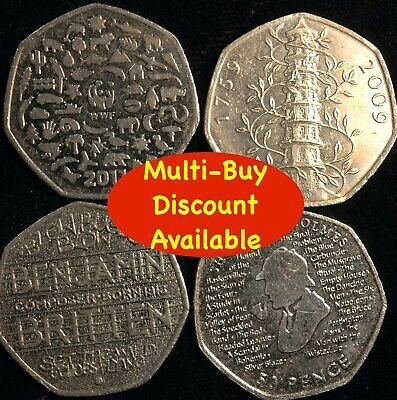 Fifty Pence 50p 1998 - 2020 Choose Your Date - Great British Coin Hunt (T7-8) • 0.99£