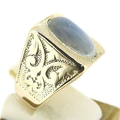 $474.05 • Buy 9 Ct Moon Stone Hand Made 9k Yellow Gold Mens Ring Size 6.75