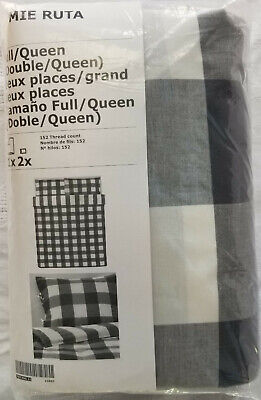 IKEA Emmie Ruta QUEEN Full Duvet Cover W Pillowcases Set DARK GRAY Buffalo Check • 67.77£