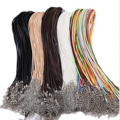10pcs High Quality Leather Necklace Lobster Clasp Rope Cord String For Pendants • 1.99£