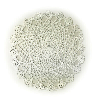 £3.75 • Buy Pack Of 4 Crochet Lace Round Doilies Coasters Traditional Table Linen Mat Doily