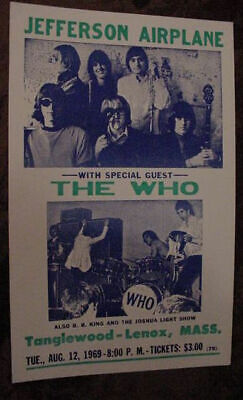 $69.99 • Buy VINTAGE JEFFERSON AIRPLANE THE WHO BB King Joshua Light Show 60s CONCERT POSTER