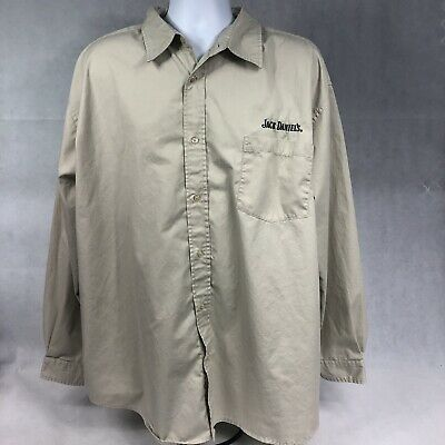 $29.19 • Buy JACK DANIELS  Mens Long Sleeve Button Front Shirt Embroidered Tan Sz 2 XL