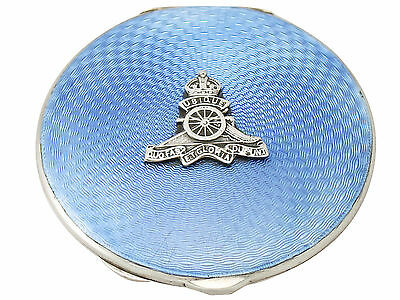 Antique George VI Sterling Silver And Guilloche Enamel Compact • 765£