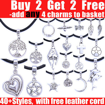 £1.59 • Buy Tibetan Silver Charm Pendant Real Leather Cord Necklace Choker For Women Girl
