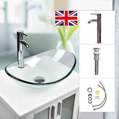 Bathroom Tempered Glass Basin Sink Clear Oval Bowl Chrome Faucet Tap Waste Set • 31.99£