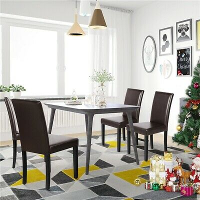 £122.99 • Buy 4pcs Modern Dining Room Chairs W/High Back PU Leather Oak Wooden Legs Furniture