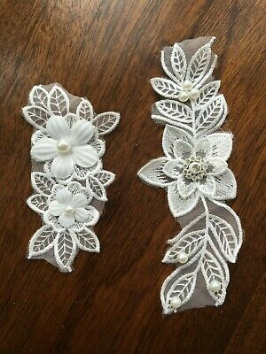 3 D Lace Applique Motif Flower With Pearls Patch  Sewing Bridal Wedding • 3.09£