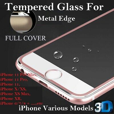3D Curved Metal Edge For IPhone 6 7 8+ XR XS Max Tempered Glass Screen Protector • 2.29£