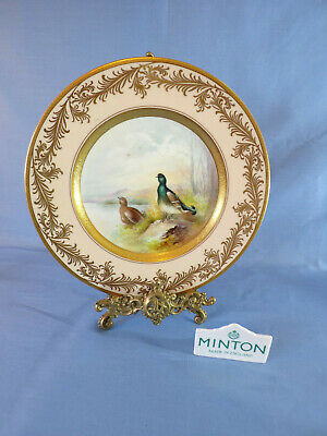 Minton Late 20th Century Cabinet Plate Blackcock X1123 Signed L Wood Gilt Rim • 125£