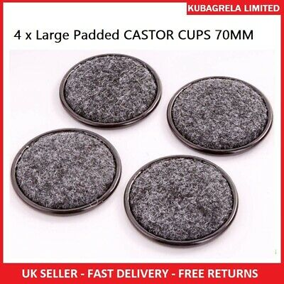 4 X Large Padded CASTOR CUPS 70MM Black Furniture LEG FLOOR CHAIR PROTECTORS • 2.75£