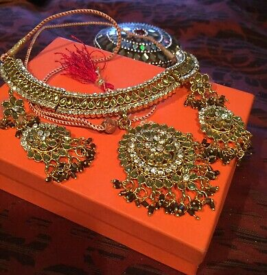 $17 • Buy Bollywood Indian Bridal Party Wear Fashion Jewelry Necklace Earring Set