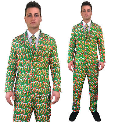 Mens Christmas Suit Kevin Carrot Funny Patterned Fancy Dress Costume 3 Piece   • 15.99£