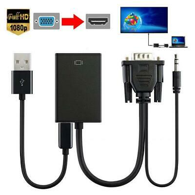 1080P VGA Male To HDMI Female Converter Adapter + USB Audio/Video Cable PC HD TV • 4.99£