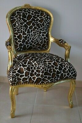 £119 • Buy LOUIS XV ARM CHAIR FRENCH STYLE CHAIR VINTAGE FURNITURE GIRAFFE Gold Wood
