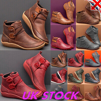 Womens Retro Leather Ankle Boots Ladies Casual Winter Flats Booties Shoes Size • 12.29£