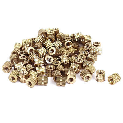 $2.33 • Buy M2 / M3 Brass Cylinder Knurled Threaded Round Insert Embedded Nuts 100PCS