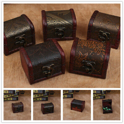 £3.99 • Buy Decorative Vintage Trinket Boxes Small Wooden Treasure Chest Storage Jewelry Box