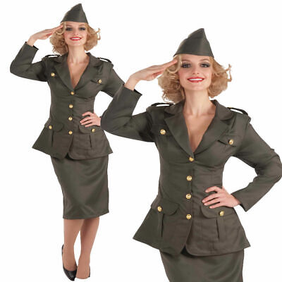 Adults Army Costume 1930s 1940s Ladies Uniform Fancy Dress Outfit Military World • 30.99£