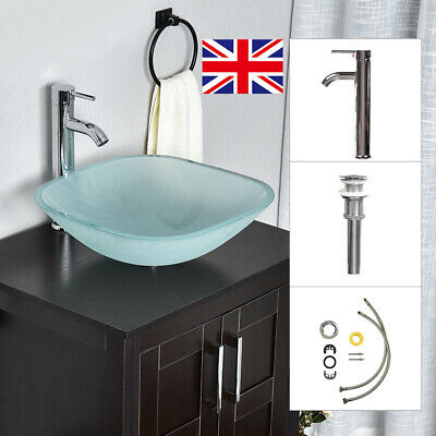 Modern Tempered Glass Basin Sink  Frosted Square Counter Top Sink Mixer Tap Set  • 39.92£