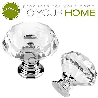 Dihl Large Crystal Door Knobs Diamond Glass Clear Cabinet Drawer Wardrobe Handle • 3.39£