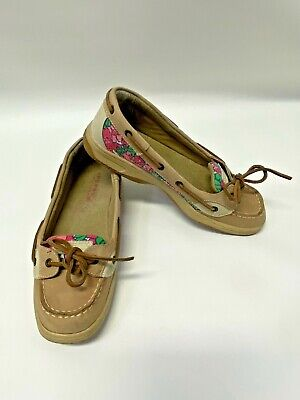 Sperry Top-Sider Women's Sz. 6 M Tan Floral Sequin Boat Shoes GUC Free Ship • 13.99$