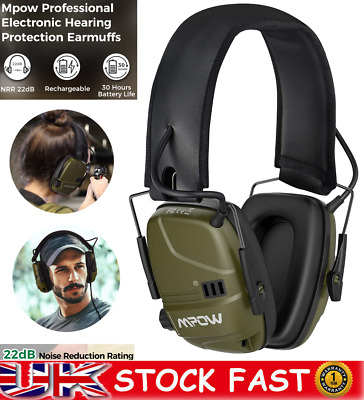 Mpow Electronic Ear Defenders Rechargeable Sport Earmuffs Protection For Shooter • 29.93£