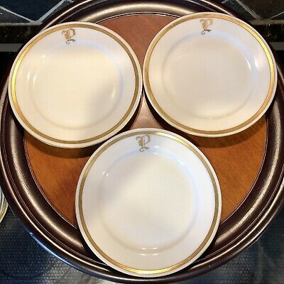 $42.88 • Buy J & C Bavaria Set 6 Bread Butter Plates White & Gilded Gold Trim & Initial  P