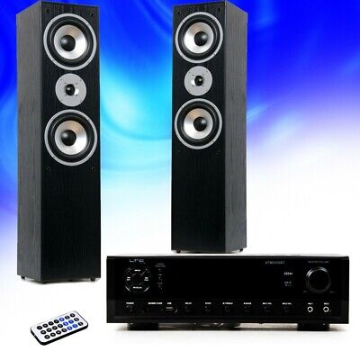 Hifi Home Cinema Music System Bluetooth USB MP3 Amplifier Black Stand Speakers • 200.92£