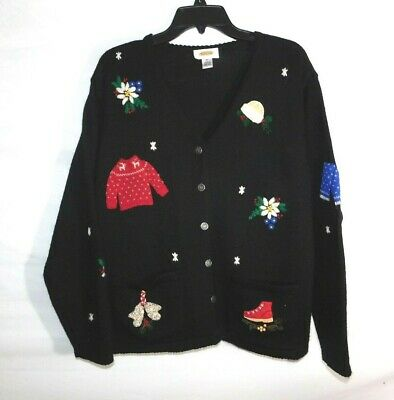 $19.54 • Buy Talbots Embroidered Cardigan Christmas Sweater Button-Up Wool Size Medium
