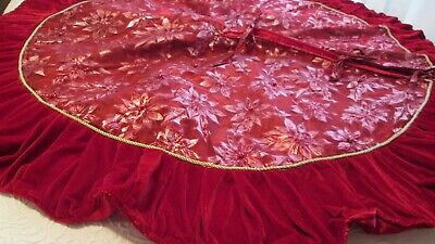 Elegant Christmas Tree Skirt Pink Red Ruched Velvet Netting Satin Ties 58-60  • 57.12£