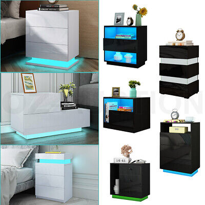 AU189.95 • Buy RGB LED Bedside Table 3 Drawers Nightstand Cabinet Bedroom Furniture Black/White