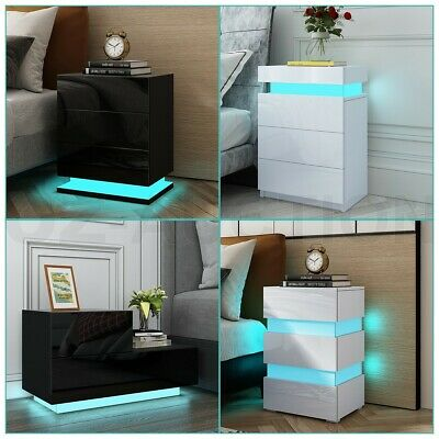 AU129.95 • Buy RGB LED Bedside Table 3 Drawers Nightstand Cabinet Bedroom Furniture Black/White
