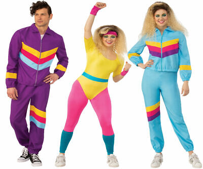Adults 80s Costume Mens Ladies Shell Suit Aerobics Tracksuit Fancy Dress Outfit • 15.99£