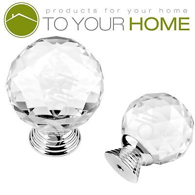 Dihl Globe Crystal Door Knobs Diamond Glass Clear Cabinet Drawer Wardrobe Handle • 3.89£