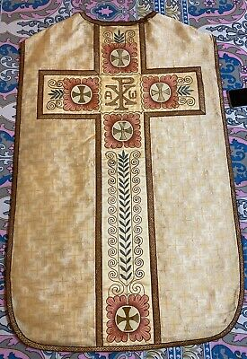 £150 • Buy Antique French Silk Hand Embroidery Christian Vestment Chasuble