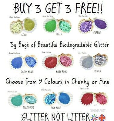 £2.49 • Buy Biodegradable Eco Glitter 3ml Buy 3 Get 3 Free! Chunky/fine Any Colour Uk Made